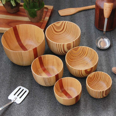 set of 6 wooden mixing and serving bowls - set B - woodgeek store