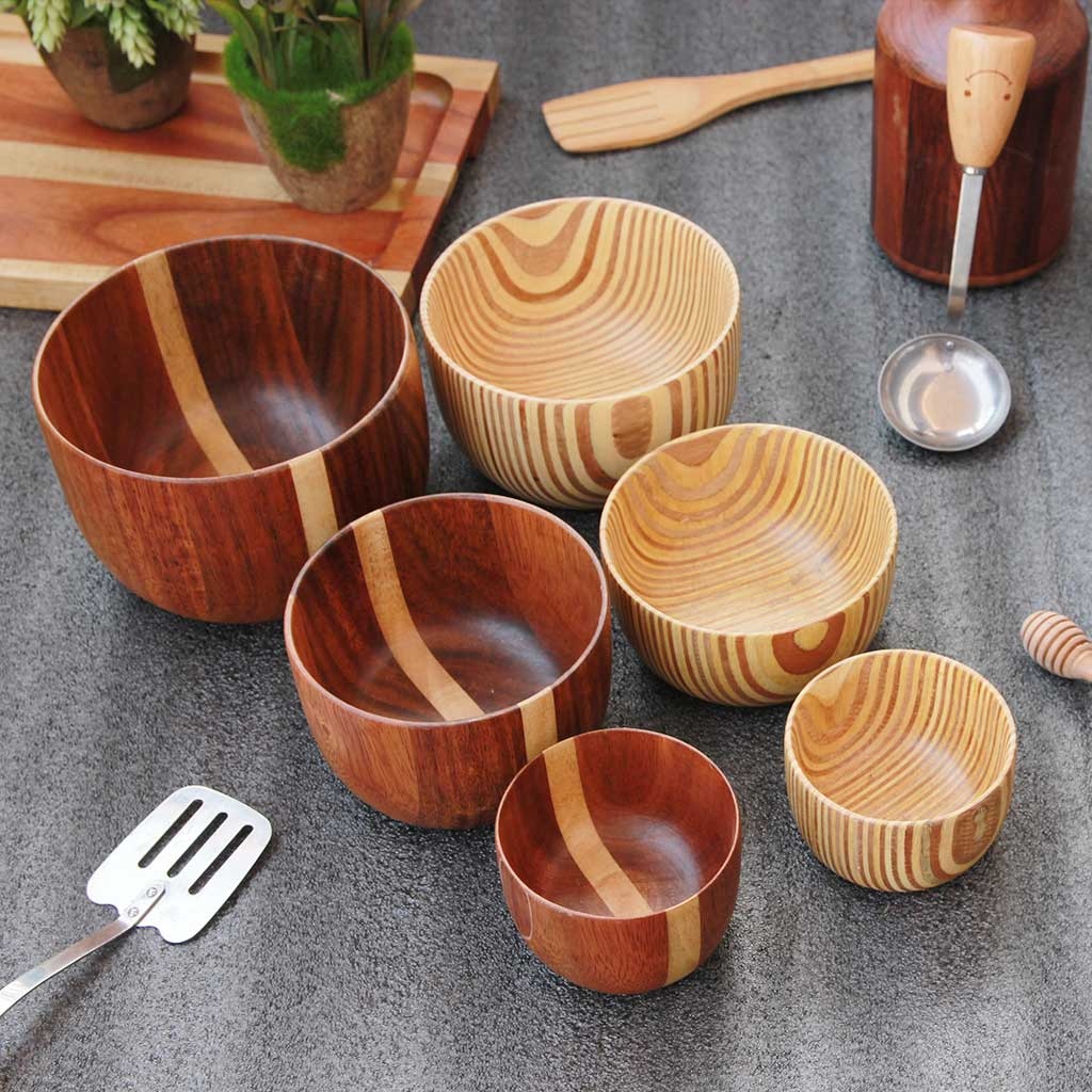 set of 6 wooden mixing and serving bowls - set C - woodgeek store