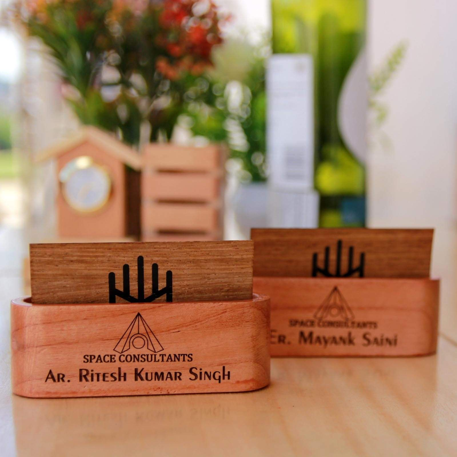 Wooden Business Card Holder - This Wooden Visiting Card Holder Makes Great Office Desk Decor - These Office Accessories Are Great Gifts For Colleagues And Employees. This Personalized Business Card Holder Can Be Engraved With Name.