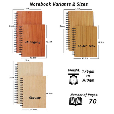 Wooden Notebook Specifications - Woodgeek Store