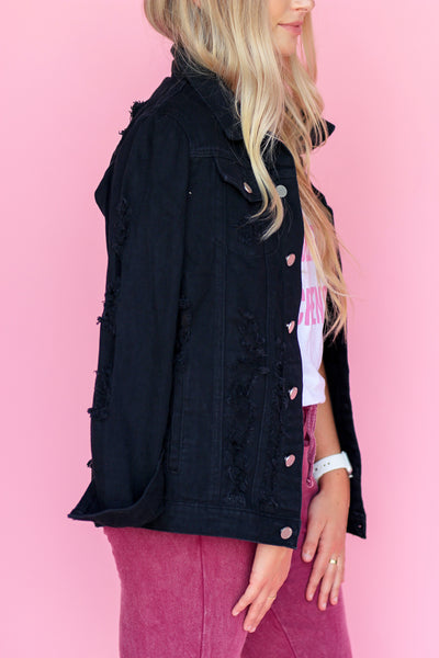 Distressed Doll Denim Jacket