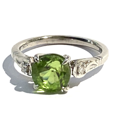 9ct White Gold 2ct Peridot and Diamond Ring