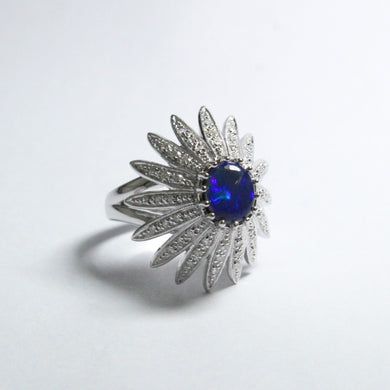 18ct White Gold 1.46ct Black Opal and Diamond Cocktail Ring