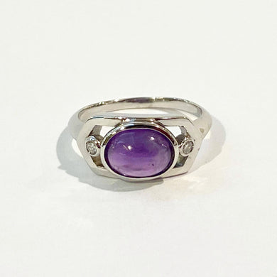 9ct White Gold Cabochon Amethyst and Diamond Dress Ring