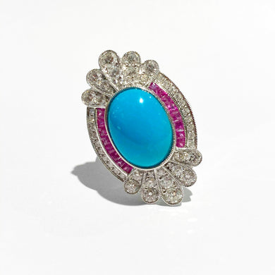 9ct White Gold Sleeping Beauty Turquoise, Pink Sapphire and Diamond Cocktail Ring