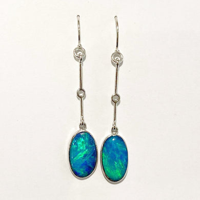 9ct White Gold 3.56ct Opal Drop Earrings
