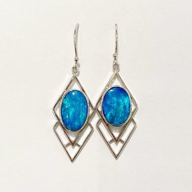9ct White Gold 5.1ct Opal Drop Earrings