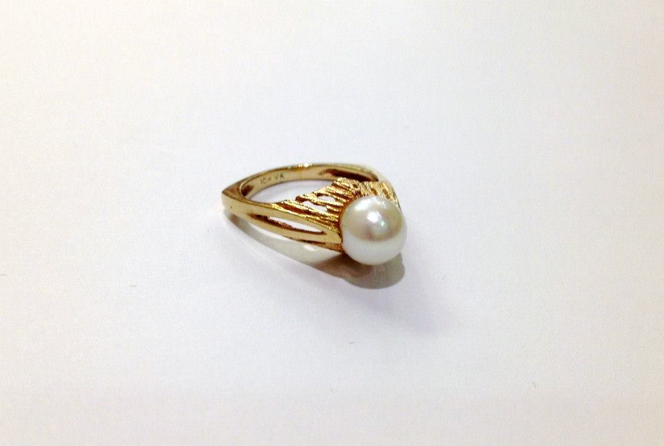 Modernist Cultured Pearl Ring
