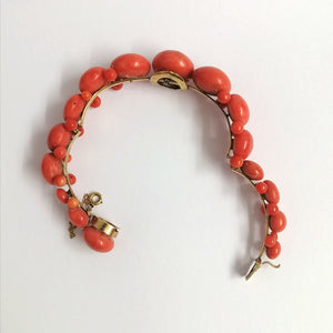 Antique 9ct Yellow Gold Momo Coral Bangle