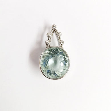 9ct White Gold 10ct Aquamarine and Diamond Pendant