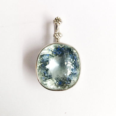 9ct White Gold 15ct Aquamarine and Diamond Pendant