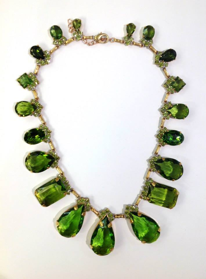 Vintage Czech Crystal Emerald Collar Necklace