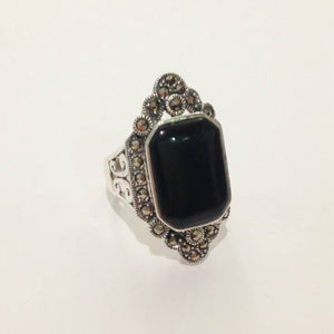 Art Deco Inspired Marcasite and Onyx Ring