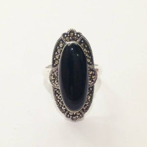 Art Deco Inspired Onyx and Marcasite Ring