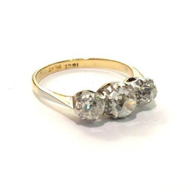 Antique 18ct Yellow Gold 1.03ct Old Cut Diamond Trilogy Engagement Ring