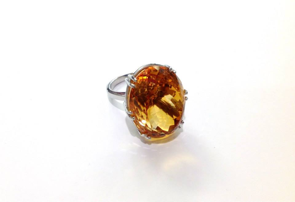 Large Vintage Citrine Cocktail Ring