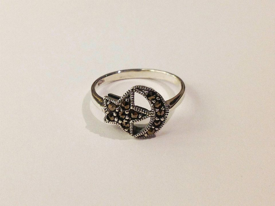 Marcasite and Sterling Silver Moon and Star Ring