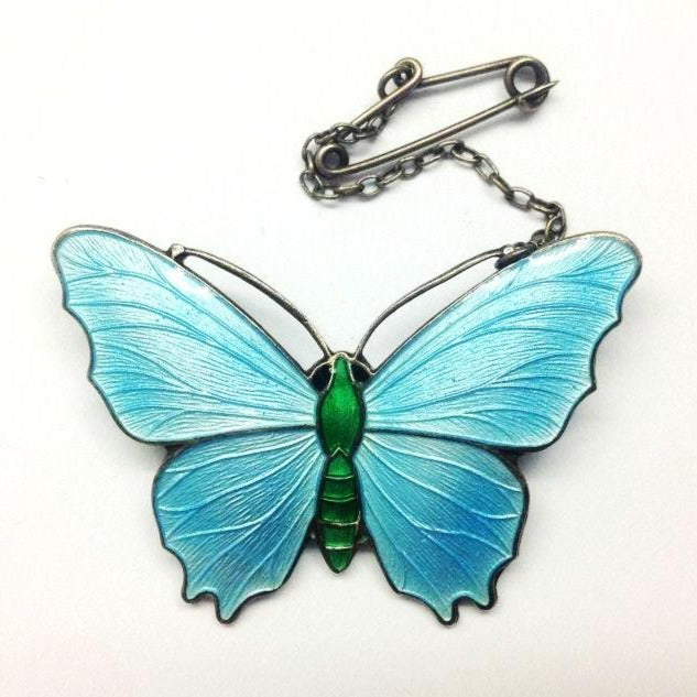 Light Blue Enamel Butterfly Brooch