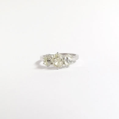 18ct White Gold 1.94ctw Old Mine Cut Diamond Trilogy Ring