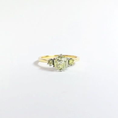 18ct Yellow Gold 1.27ct Old Mine Cut Yellow Diamond Trilogy Ring