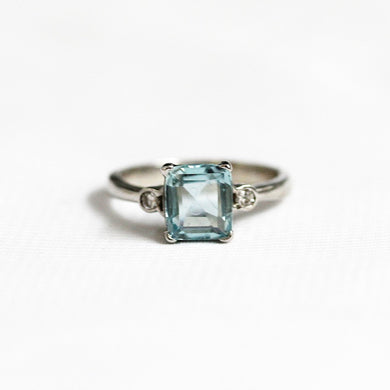 9ct White Gold 1.91ct Aquamarine and Diamond Ring