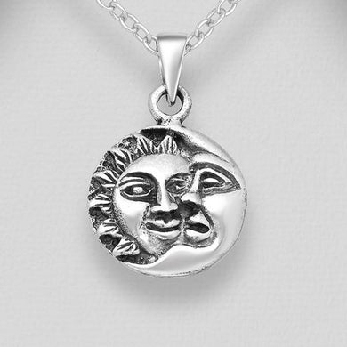 Sterling Silver Sun and Crescent Moon Pendant