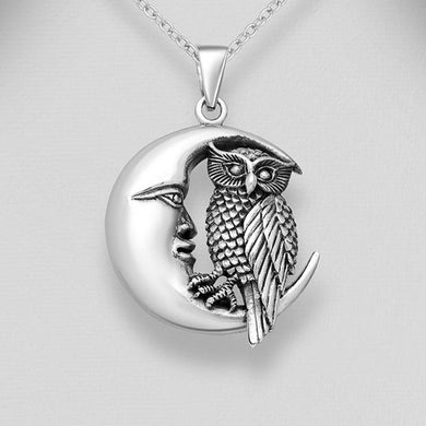 Sterling Silver Crescent Moon and Owl Pendant