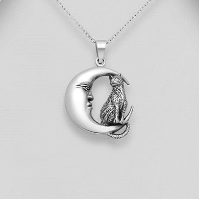 Sterling Silver Crescent Moon and Cat Pendant