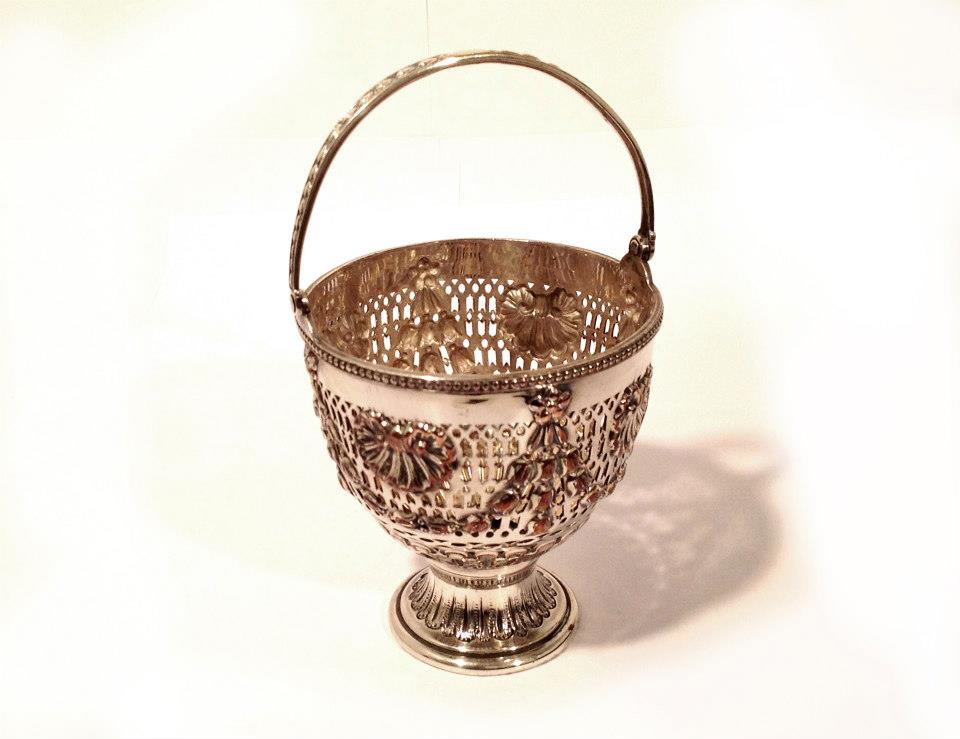 Ornate Silver-Plated Egg Basket