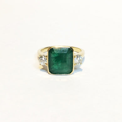 9ct Yellow Gold 3.75ct Emerald and Diamond Dress Ring