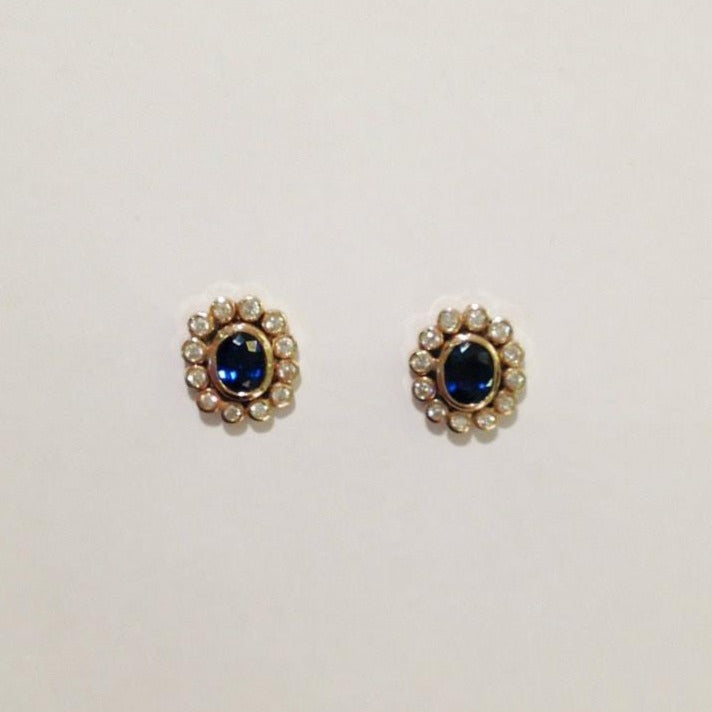 18ct Yellow Gold Royal Blue Sapphire and Diamond Stud Earrings