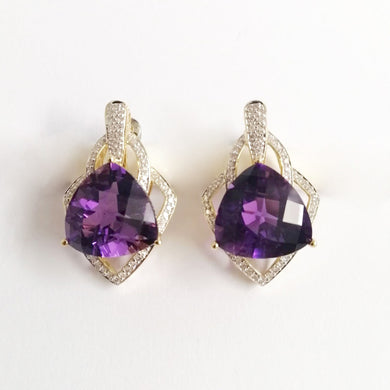 Vintage 14ct Yellow Gold Trillion Cut Amethyst and Diamond Stud Drop Earrings