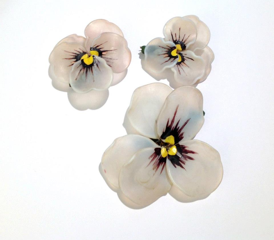 French handpainted glass flower brooches (set of 3)