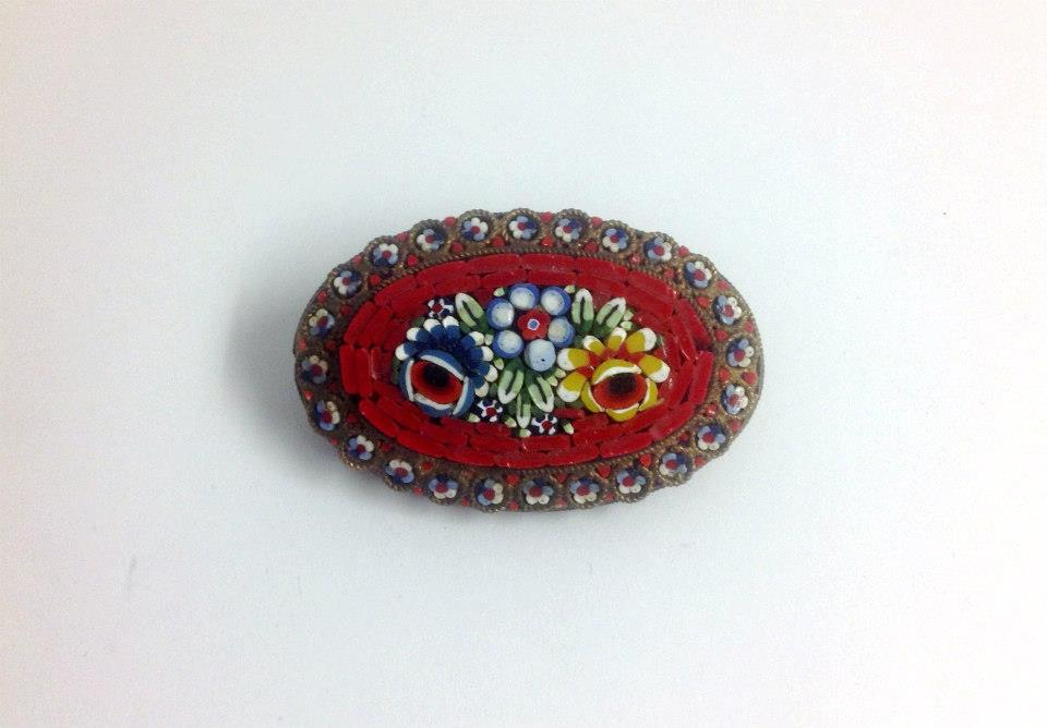 Micro-Mosaic Brooch with Red Floral