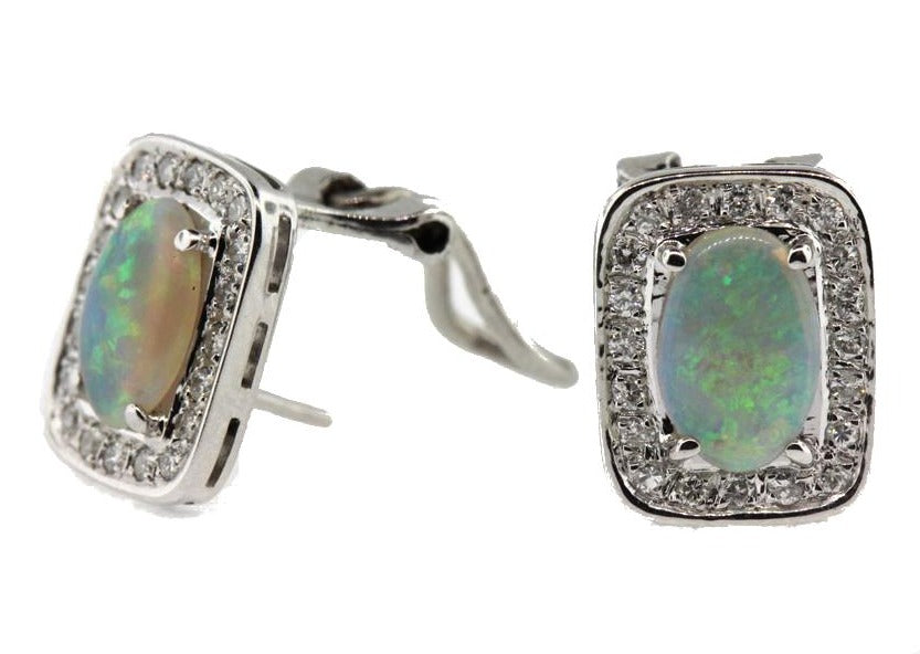 Vintage Modernist 14ct White Gold Opal and Diamond Studs
