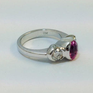 18ct White Gold 1.00ct Oval Cut Natural Pink Sapphire and Diamond Ring