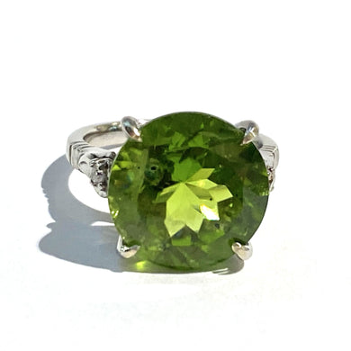 9ct White Gold 6ct Peridot and Diamond Dress Ring