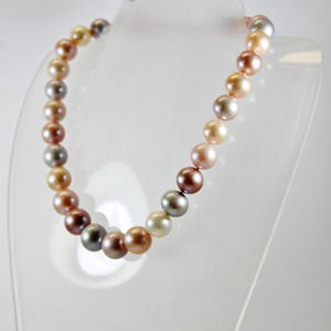 Magnificent Modern Multi Coloured Graduated Cultured Pearl Necklace with Gold Clasp