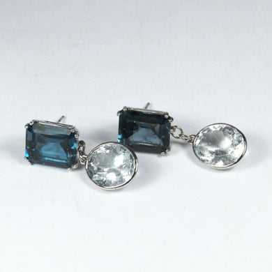 9ct White Gold London Blue Topaz and Aquamarine Stud Drop Earrings