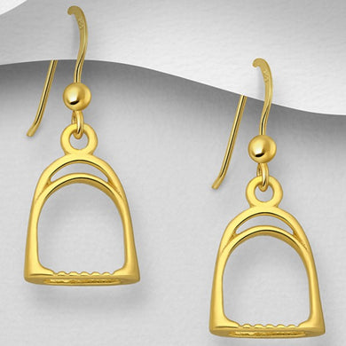 Sterling Silver Gold Plate Riding Stirrup Drop Earrings