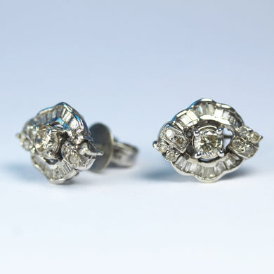 Antique 18ct White Gold Deco Style Diamond Stud Earrings