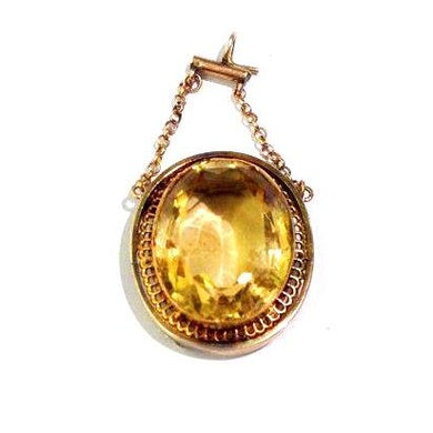 Antique Yellow Citrine Pendant/Brooch