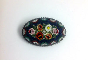 Navy Blue Micro Mosaic Brooch