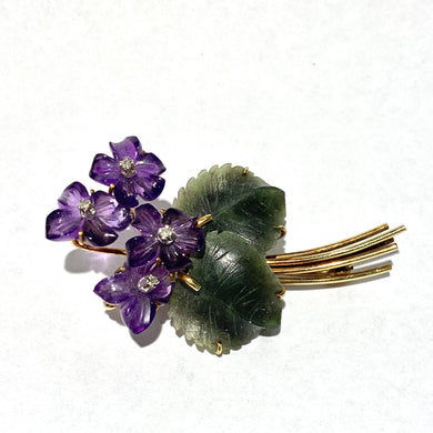 Antique 18ct Yellow Gold Carved Amethyst, Jade and Diamond Brooch