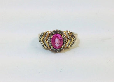 Natural Pink Sapphire and Diamond Ring 9ct Gold