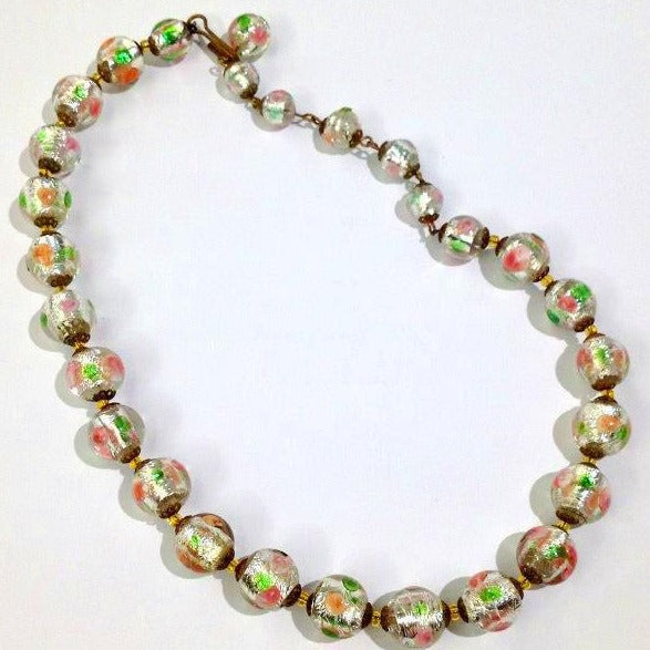 1930's Green and Pink Murano Glass Bead Necklace