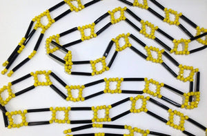 Vintage Flapper Yellow and Black French Jet necklace/belt