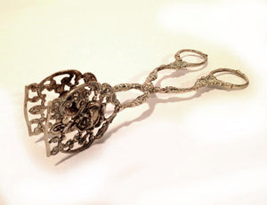 Decorative Floral Silver Tongs