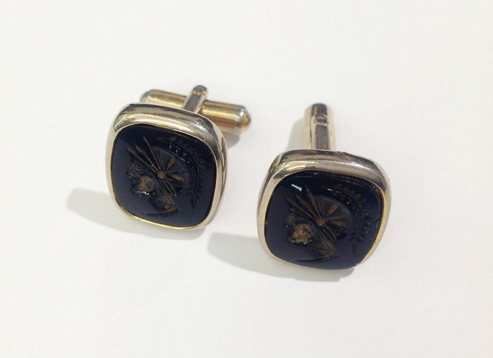 Glass Intaglio Cufflinks in Silver