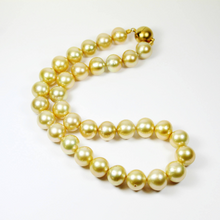 Stunning Yellow And Gold South Sea Pearl Necklace